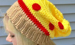 Pizza Slouchy Hat Crochet Pattern