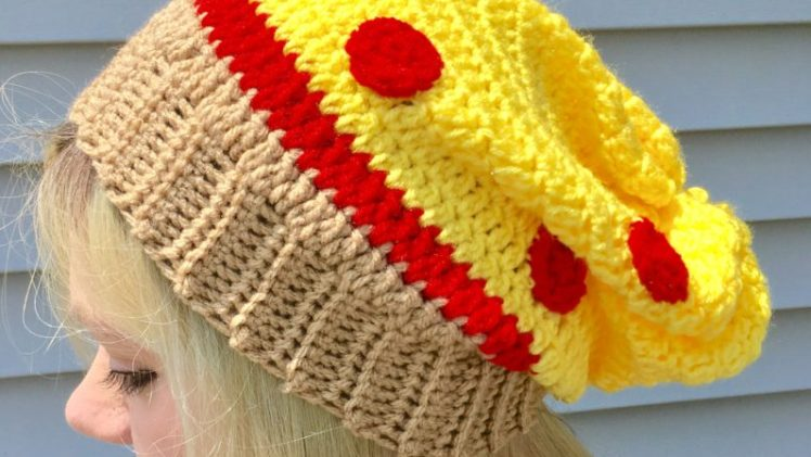Pizza Slouchy Hat Crochet Pattern