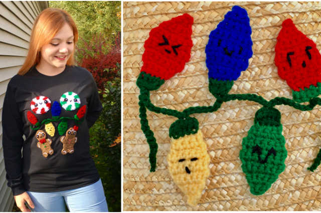 Light Up Your Ugly Christmas Sweater – String Light Applique Crochet Pattern
