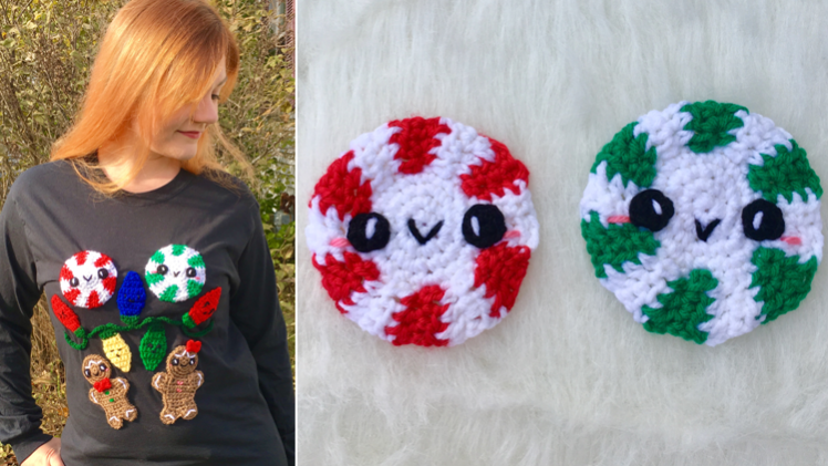 Make this Holiday Season Sweet: Kawaii Peppermint Applique Crochet Pattern