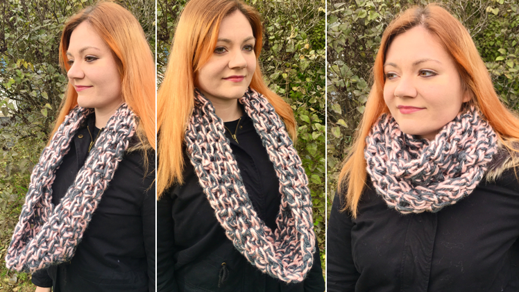 The Caylin Scarf – A Fun, Easy Beginner's Infinity Scarf!