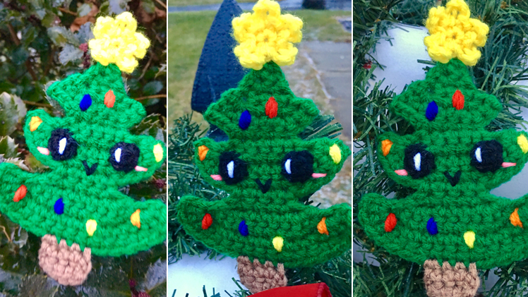 Kawaii Christmas Tree Applique / Ornament