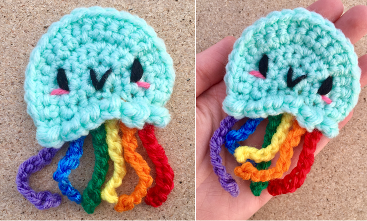 Rainbow Jellyfish Applique Crochet Pattern