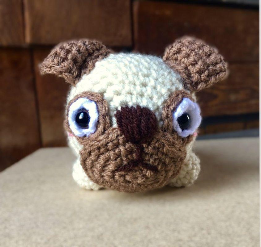Tiny Potato Pug amigurumi free crochet - Amigu World | 800x844