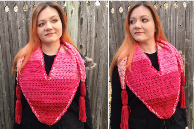 Hearts-a-Flutter Triangle Scarf Crochet Pattern