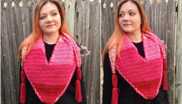Hearts-a-Flutter Triangle Scarf Crochet Pattern