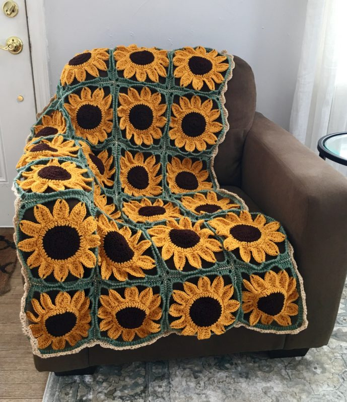Sunflower Square Blanket Crochet Pattern Crafty Kitty Crochet