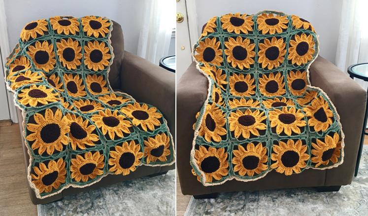 Sunflower Square Blanket Crochet Pattern