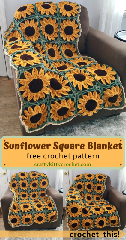 Sunflower Square Blanket Crochet Pattern - Crafty Kitty Crochet
