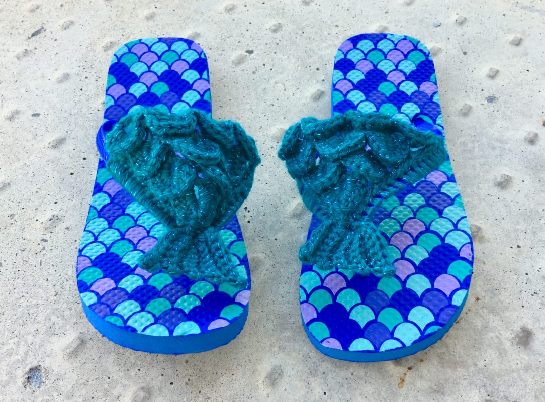 Mermaid Flip Flops Crochet Pattern Teens  Adults -1780